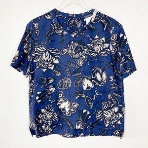 'S MaxMara Navy Blue Floral Short Sleeve Top